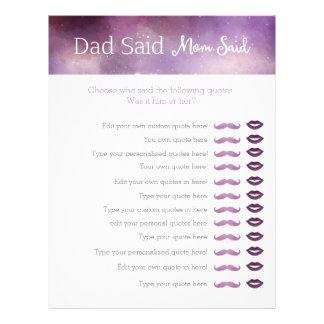 purple galaxy dad said mom said baby shower game letterhead