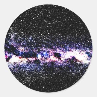 Purple Galaxy Round Stickers