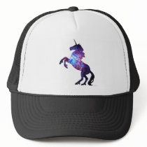 purple galaxy unicorn trucker hat