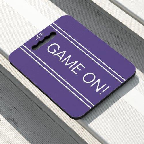Purple GAME ON Monogrammed Initials Stadium Sports Seat Cushion