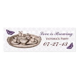 Purple Garden Bridal Tea Party Gift Bag Tags Mini Business Card