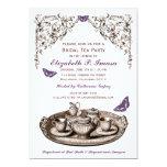 Purple Garden Bridal Tea Party Invitations Cards