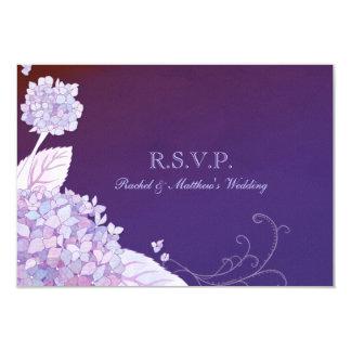 Purple Garden Hydrangeas Wedding RSVP (3.5x5) Custom Invitation