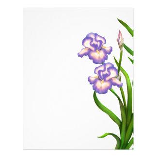 Purple Garden Iris Flowers Letterhead