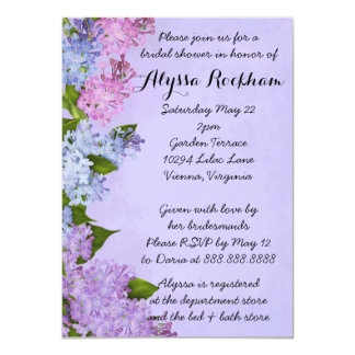 "Purple Garden Lilac Flowers Bridal Shower 4.5"" X 6.25"" Invitation Card"