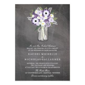 Purple Garden Mason Jar Chalkboard   Wedding 5x7 Paper Invitation Card