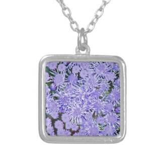 Purple garden of mums silver plated necklace