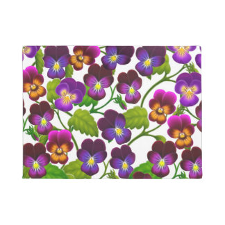 Purple Garden Pansy Flowers Doormat
