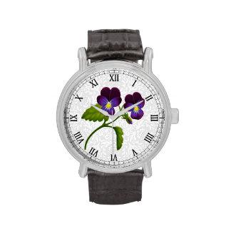 Purple Garden Pansy Flowers Watch