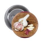 purple garlic on a oak board buttons