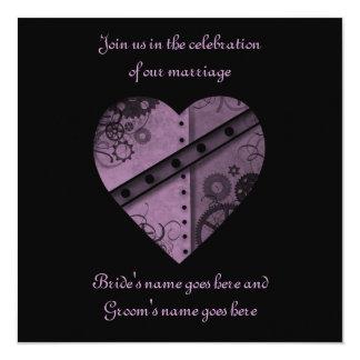 Purple gears heart wedding square card