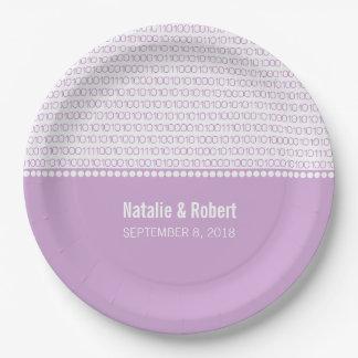 Purple Geek Chic Binary Code Paper Plates