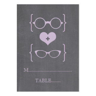 Purple Geeky Glasses Chalkboard Place Cards Large Business Cards (Pack Of 100)