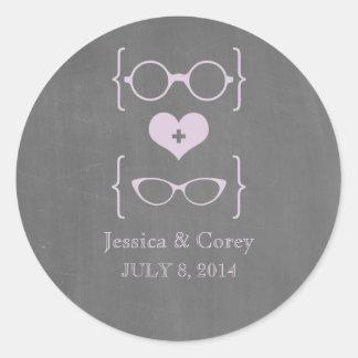 Purple Geeky Glasses Chalkboard Wedding Stickers