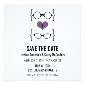 Purple Geeky Glasses Save the Date Announcement