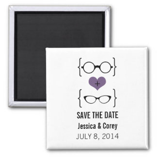 Purple Geeky Glasses Save the Date Magnet