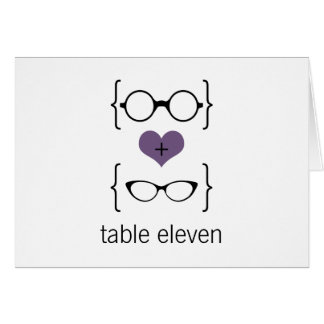 Purple Geeky Glasses Table Number Card