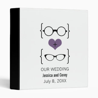 Purple Geeky Glasses Wedding Binder