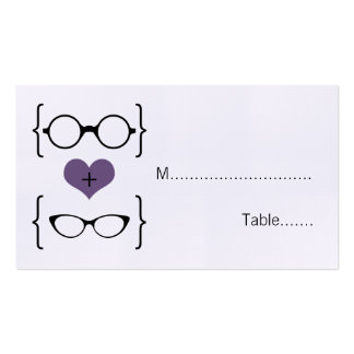 Purple Geeky Glasses Wedding Place Cards Double-Sided Standard Business Cards (Pack Of 100)