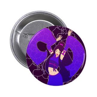 Purple Geisha Dancer Japanese Pop Art Button