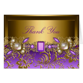 Purple Gem & Pearls Thank You Card