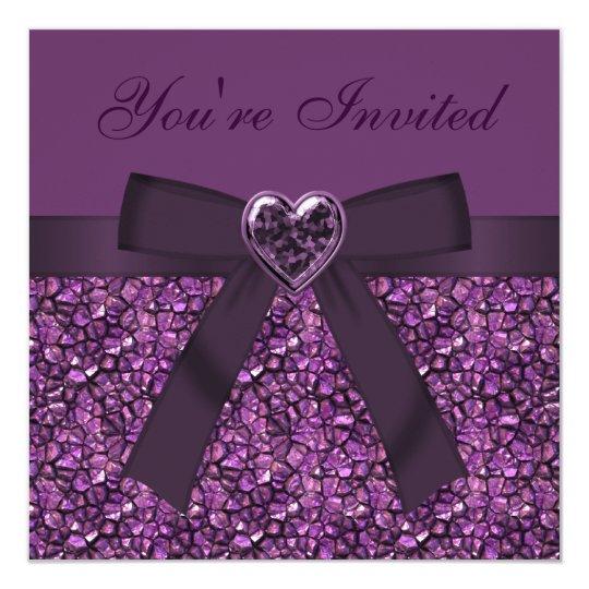 Purple Gem Stones, Bow & Heart Jewel Invites