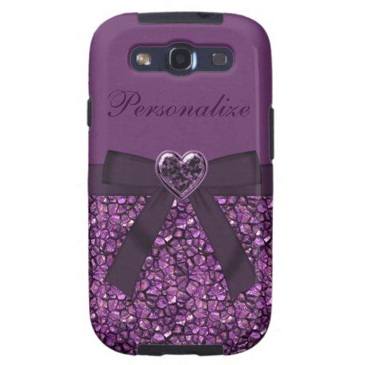 Purple Gem Stones & Heart Jewel Print Galaxy SIII Covers