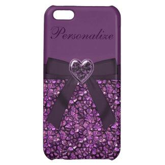 Purple Gem Stones & Heart Jewel Print Case For iPhone 5C