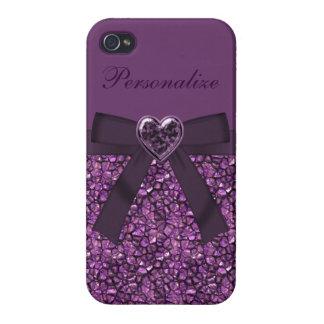 Purple Gem Stones & Heart Jewel Print Cover For iPhone 4