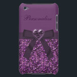 "Purple Gem Stones &amp; Heart Jewel Print iPod Case-Mate Case<br><div class=""desc"">Cool purple case for her with a beautiful digital purple gem stones pattern and a cute digital purple ribbon, bow and beautiful purple sparkle digital bling jewel heart. A stylish, cute, beautiful and chic fashion gift for women and girls who love a touch of bling! PLEASE NOTE: All products on...</div>"