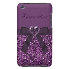 Purple Gem Stones & Heart Jewel Print Ipod Case-mate Case at Zazzle
