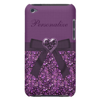 Purple Gem Stones & Heart Jewel Print iPod Case-Mate Case