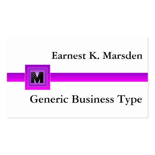 Purple generic monogram name card business cards zazzle for Generic business cards