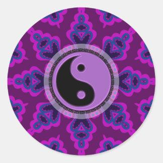 Purple Geometric Flower Yin Yang Sticker