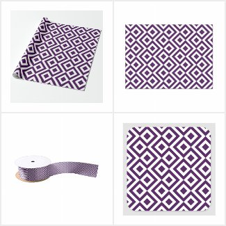 Purple Geometric Gift Wrap Supplies