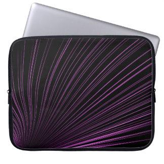 Purple Geometric Lines On Black, Laptop Sleeve