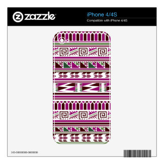 Purple Geometric Modern Aztec Tribal Print Pattern iPhone 4 Decal