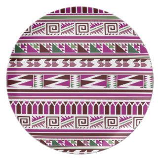 Purple Geometric Modern Aztec Tribal Print Pattern Plate