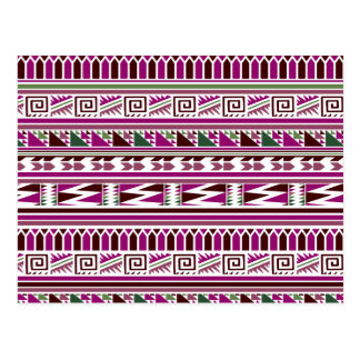 Purple Geometric Modern Aztec Tribal Print Pattern Postcard