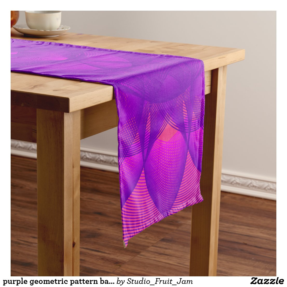 purple geometric pattern based on epitrochoid short table runner
