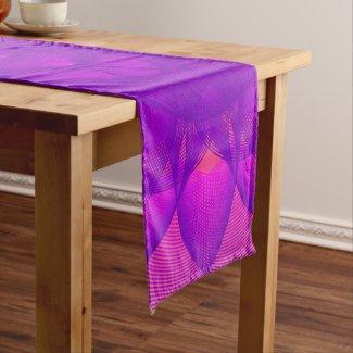 purple geometric pattern based on epitrochoid short table runner