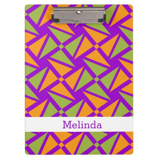 Purple Geometric Pattern-Personalized Custom Name Clipboard