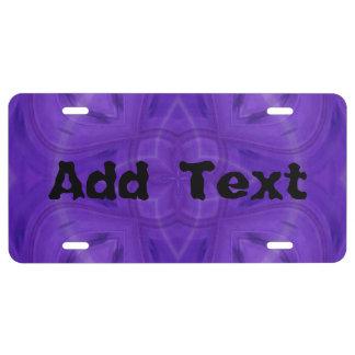 Purple geometric wood pattern license plate