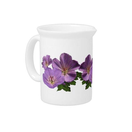 Purple Geranium Flowers Beverage Pitcher
