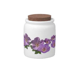 Purple Geranium Flowers Candy Dish