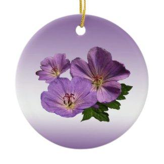 Purple Geranium Flowers Christmas Tree Ornament