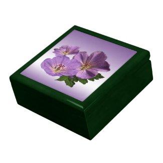 Purple Geranium Flowers Jewelry Box