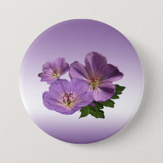 Purple Geranium Flowers Pinback Button