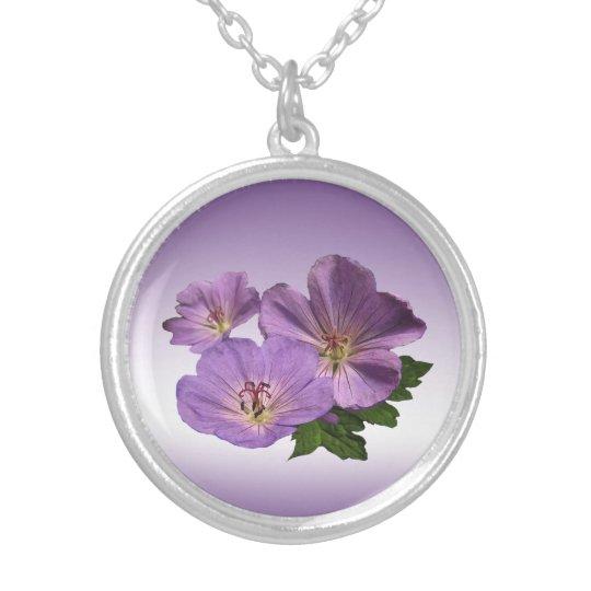 Purple Geranium Flowers Silver Plated Necklace