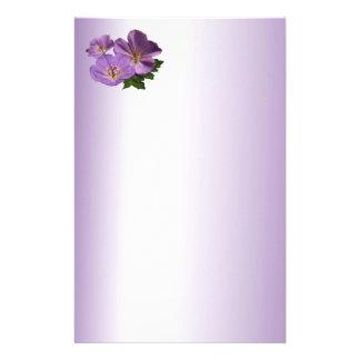 Purple Geranium Flowers Stationery Design